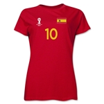 Spain 2014 FIFA World Cup Brazil(TM) Women's Number 10 T-Shirt (Red)