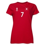Switzerland 2014 FIFA World Cup Brazil(TM) Women's Number 7 T-Shirt (Red)