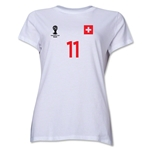 Switzerland 2014 FIFA World Cup Brazil(TM) Women's Number 11 T-Shirt (White)