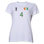 Cote d'Ivoire 2014 FIFA World Cup Brazil(TM) Women's Number 4 T-Shirt (White)