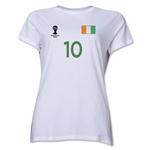 Cote d'Ivoire 2014 FIFA World Cup Brazil(TM) Women's Number 10 T-Shirt (White)