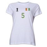 Cote d'Ivoire 2014 FIFA World Cup Brazil(TM) Women's Number 5 T-Shirt (White)