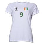 Cote d'Ivoire 2014 FIFA World Cup Brazil(TM) Women's Number 9 T-Shirt (White)
