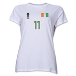 Cote d'Ivoire 2014 FIFA World Cup Brazil(TM) Women's Number 11 T-Shirt (White)