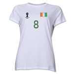 Cote d'Ivoire 2014 FIFA World Cup Brazil(TM) Women's Number 8 T-Shirt (White)