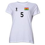 Ghana 2014 FIFA World Cup Brazil(TM) Women's Number 5 T-Shirt (White)