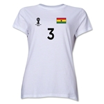 Ghana 2014 FIFA World Cup Brazil(TM) Women's Number 3 T-Shirt (White)