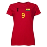 Ghana 2014 FIFA World Cup Brazil(TM) Women's Number 9 T-Shirt (Red)