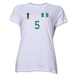 Nigeria 2014 FIFA World Cup Brazil(TM) Women's Number 5 T-Shirt (White)