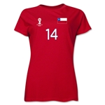Chile 2014 FIFA World Cup Brazil(TM) Women's Number 14 T-Shirt (Red)