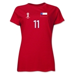 Chile 2014 FIFA World Cup Brazil(TM) Women's Number 11 T-Shirt (Red)