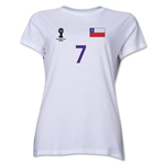 Chile 2014 FIFA World Cup Brazil(TM) Women's Number 7 T-Shirt (White)