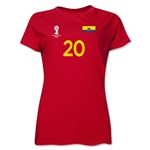 Ecuador 2014 FIFA World Cup Brazil(TM) Women's Number 20 T-Shirt (Red)