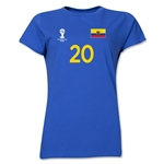 Ecuador 2014 FIFA World Cup Brazil(TM) Women's Number 20 T-Shirt (Royal)