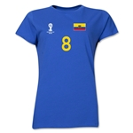 Ecuador 2014 FIFA World Cup Brazil(TM) Women's Number 8 T-Shirt (Royal)