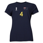 Australia 2014 FIFA World Cup Brazil(TM) Women's Number 4 T-Shirt (Navy)