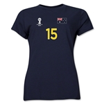 Australia 2014 FIFA World Cup Brazil(TM) Women's Number 15 T-Shirt (Navy)
