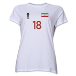 Iran 2014 FIFA World Cup Brazil(TM) Women's Number 18 T-Shirt (White)