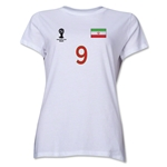 Iran 2014 FIFA World Cup Brazil(TM) Women's Number 9 T-Shirt (White)