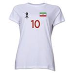 Iran 2014 FIFA World Cup Brazil(TM) Women's Number 10 T-Shirt (White)