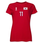 South Korea 2014 FIFA World Cup Brazil(TM) Women's Number 11 T-Shirt (Red)