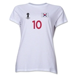 South Korea 2014 FIFA World Cup Brazil(TM) Women's Number 10 T-Shirt (White)