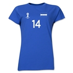 Honduras 2014 FIFA World Cup Brazil(TM) Women's Number 14 T-Shirt (Royal)