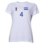 Honduras 2014 FIFA World Cup Brazil(TM) Women's Number 4 T-Shirt (White)