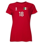 Mexico 2014 FIFA World Cup Brazil(TM) Women's Number 18 T-Shirt (Red)