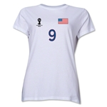 USA 2014 FIFA World Cup Brazil(TM) Women's Number 9 T-Shirt (White)