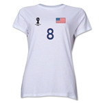 USA 2014 FIFA World Cup Brazil(TM) Women's Number 8 T-Shirt (White)