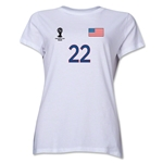 USA 2014 FIFA World Cup Brazil(TM) Women's Number 22 T-Shirt (White)