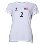 USA 2014 FIFA World Cup Brazil(TM) Women's Number 2 T-Shirt (White)