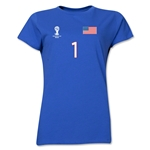 USA 2014 FIFA World Cup Brazil(TM) Women's Number 1 T-Shirt (Royal)