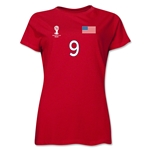 USA 2014 FIFA World Cup Brazil(TM) Women's Number 9 T-Shirt (Red)