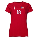 USA 2014 FIFA World Cup Brazil(TM) Women's Number 18 T-Shirt (Red)