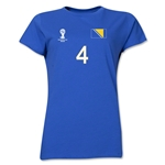 Bosnia-Herzegovina 2014 FIFA World Cup Brazil(TM) Women's Number 4 T-Shirt (Royal)