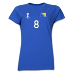Bosnia-Herzegovina 2014 FIFA World Cup Brazil(TM) Women's Number 8 T-Shirt (Royal)