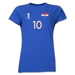 Croatia 2014 FIFA World Cup Brazil(TM) Women's Number 10 T-Shirt (Royal)