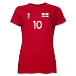 England 2014 FIFA World Cup Brazil(TM) Women's Number 10 T-Shirt (Red)