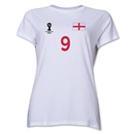 England 2014 FIFA World Cup Brazil(TM) Women's Number 9 T-Shirt (White)