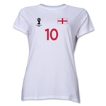England 2014 FIFA World Cup Brazil(TM) Women's Number 10 T-Shirt (White)