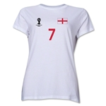 England 2014 FIFA World Cup Brazil(TM) Women's Number 7 T-Shirt (White)