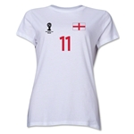 England 2014 FIFA World Cup Brazil(TM) Women's Number 11 T-Shirt (White)