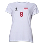 England 2014 FIFA World Cup Brazil(TM) Women's Number 8 T-Shirt (White)