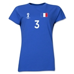 France 2014 FIFA World Cup Brazil(TM) Women's Number 3 T-Shirt (Royal)