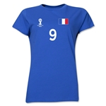 France 2014 FIFA World Cup Brazil(TM) Women's Number 9 T-Shirt (Royal)