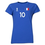 France 2014 FIFA World Cup Brazil(TM) Women's Number 10 T-Shirt (Royal)