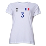 France 2014 FIFA World Cup Brazil(TM) Women's Number 3 T-Shirt (White)