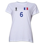 France 2014 FIFA World Cup Brazil(TM) Women's Number 6 T-Shirt (White)